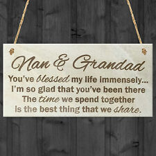 Nan and Grandad Time That We Share Wooden Hanging Plaque Grandparents Gift Sign