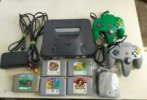 Nintendo 64 N64 Gray Game Console Full Set & 2 Controllers Green & 5 Software
