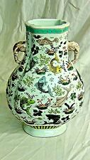 EARLY 20c CHINESE PORCELAIN ZUN VASE WITH ELEPHANT HANDLES,FISH SWIMING IN LOTUS