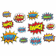 Comic Book SUPER HERO ACTION SIGNS (12 PIECES) Party Decorations PHOTO BOOTH