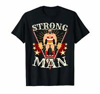 Deadlift Vintage Circus Strongman Gymer Contest Black T-Shirt Brian Shaw S-6XL