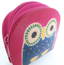 DARK PINK LEATHER OWL COIN PURSE. HAND MADE, FAIR TRADE ZIP TOP FROM TRANSOMNIA