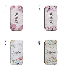 Personalised name initials flowers marble gold H15 flip Wallet phone Case