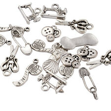 5Sets Sewing Knitting Themed Tibetan Style Antique Silver Alloy Pendants Charms