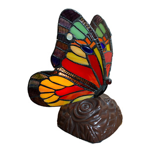 """Tiffany Style Stained Glass Butterfly Accent Lamp Night Light 9"""" High"""
