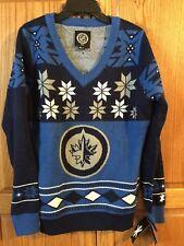 New Women's Winnipeg Jets V-Neck Ugly Logo Sweater NHL Size Large