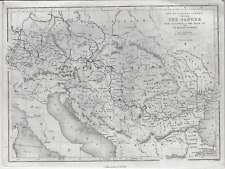 Fine Antique Map - The Danube From Source To Black Sea - Copper Engraving - 1840