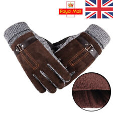 Mens Winter Leather Gloves Thick Warm Fleece Windproof Gloves Driving Brown UK
