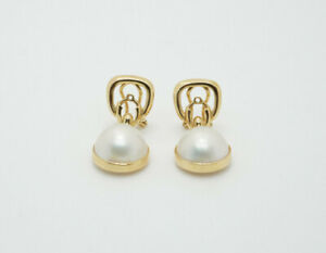 14K Gold Mabe Pearl Dangle Enhancers Earrings Jackets
