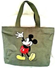 "Disney Duffle Hand Bag Mickey Mouse Nylon 16 1/2""x 12"" Green Check Bling Zipperd"