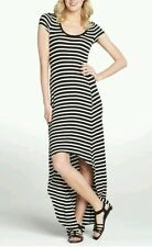 Maxi Dress S BCBG MAXAZRIA Black White Stripe Stretch Donesa High Low Asymmetric