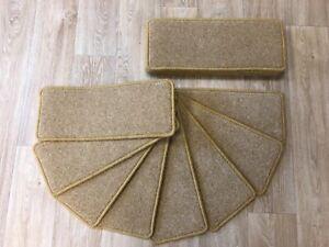 "CARPET STAIR PADS/TREADS, Quality Wool twist, golden, 20"" x 8"", 14"