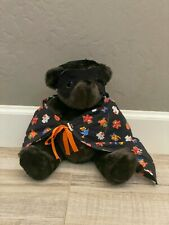 """1984 Vermont Teddy Bear Black Halloween cape and Mask Jointed 14"""" Plush Classic"""