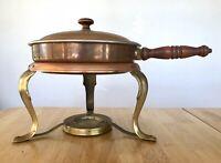 Copper Fondue Set Vintage Pot Stand Lid NO BURNER