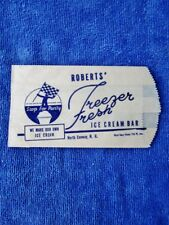 ROBERTS' FREEZER FRESH ICE CREAM BAR, North Conway, NH  Vintage Dairy Purity Bag