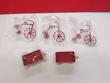 VINTAGE NEW DOLL HOUSE MINIATURES TRICYCLE MODELS TOYS RED WAGON LOT OF 5
