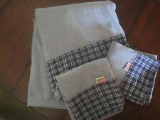 RALPH LAUREN Americana Chambray BLUE-Plaid Trim 100% COTTON Flat + 2 Pillowcases