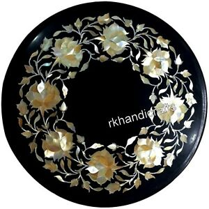 Mother of Pearl Stones Inlaid Coffee Table Top Round Sofa Side Table 13 Inches