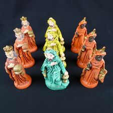 Three Wise Men Nativity Figures Painted Hard Plastic Italy 4 Inches Lot of 9