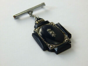 Vintage Antique Jewellery Marcasite Bakelite Mourning Fob brooch Pin