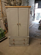 HAND MADE BERKELEY GREY 2 DRAWER WARDROBE WITH PINE TRIM READY ASSEMBLED