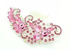 PINK Colour Bridal Bridesmaid Wedding Hair Comb Clip Rhinestone Diamante Prom