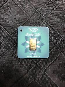 NZP .025 gram 999.9 Fine Gold Bullion   1/40 Gram    NZP Miracle Gold Series