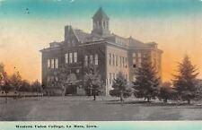 Le Mars Iowa~Western Union College Main at Sundown~Evergreens 1913