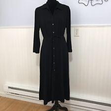 J Jill Stretch Womens Medium Black Button Down Dress Tie Waist