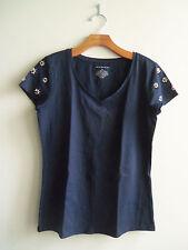 Ann Taylor Embellished Short Sleeve V-neck Tee, T-shirt, Navy, Size M, NWT