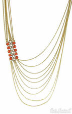 $135 Kenneth Cole N.Y. 'Modern Riviera' Coral-Hue Stone Layered Necklace  NEW