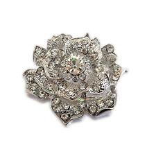 VINTAGE argento strass lucido Rose Bustino WEDDING SPILLA PIN BR187