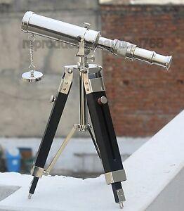 Handmade Brass Chrome Telescope With  Tripod Marine Tabletop Spyglass Scope Gift