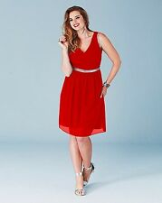 LOVEDROBE V NECK METALLIC TRIM DRESS BNIP SIZE 14 RED REF 0316/13