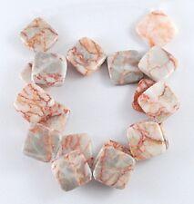 8 Perles en Pierre Naturelle Jaspe Carrée Rose marbré 21mm x 5mm