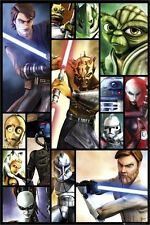 STAR WARS ~ THE CLONE WARS BOXES CAST 24x36 CARTOON POSTER Yoda Obi-Wan Anakin