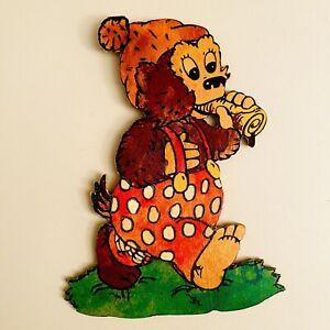 🎁 1970er Laubsägearbeit 15cm Petzi Rasmus Klump Graupner Wand-Figur Vintage