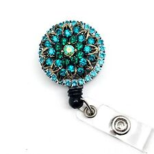 Teal Rhinestones Retractable ID Badge Reel Alligator Swivel Badge Holder