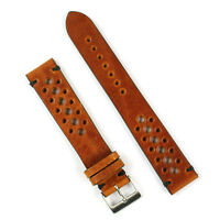 B & R Bands 18mm Cognac Italian Vintage Leather Racing Watch Strap Band