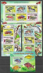 Burundi 2014 Fauna Wildlife Marinelife Fisch Fish 6 compl. MS + 2 SS MNH