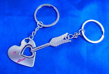 KEYRING Key Ring Chain 2 Set Double Couple Silver Fob LOVE Gift HEART ARROW