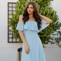 Ever-pretty US Long Cocktail  Prom Gowns Off-shoulder Bridesmaids Dresses  07171