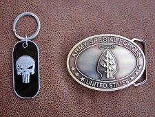 U.S .SPECIAL FORCES BELT BUCKLE AND SNIPER PUNISHER KEY RING