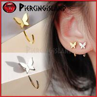 925 Sterling Silver Gold GP Butterfly Lady Ear Open Ring Hoop Earring Piercing