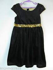 Girls Size M 7 8 Black Velvet Gold Sequin Bow Back Cut Out Holiday Formal Dress