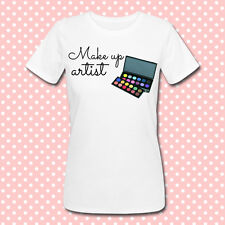 """T-shirt donna """"Make up Artist"""" con stampa palette ombretti, makeup!"""