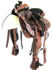 """'THSL' WESTERN ROPING SADDLE SET - FULL CARVED MAHOGANY BROWN 16""""  (1001MB)"""