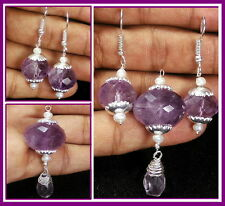 86+ Ct Natural Untreated Purple Amethyst Pendant With Ear-Rings~ Silver Jewelry