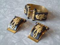 Vintage Jean Painleve Art Deco Seahorses Bangle & Dress Clips Bakelite Gold Tone