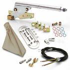 Floor Mnt E-Brake HandleTan Boot, Chr Ring, Cable Kit, GM Clevis